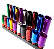 "Colorido Socket Set 1/2 """" Deep & Shallow 20pc Kit 6pt 13 - 24mm Acero Cr-V"