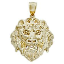 Gold Lion's Head Pendant, 10k Solid Gold
