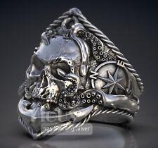 Unique Compass Skull 925 Sterling Silver Men's Biker Ring