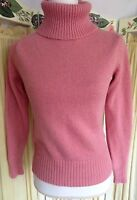 Villager Liz Claiborne Womens sz Medium Turtleneck Sweater Top Pink Metallic L/S