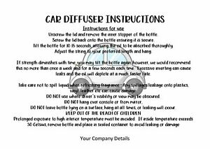 Car Diffuser Care Cards