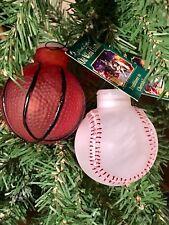 *Basketball & Baseball*  Sport [52044] Old World Christmas Glass Light Cover-NEW