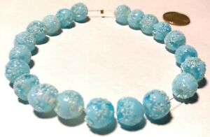 21 Vintage Japanese Splatter Crumb Frit Blue Collectible Glass Beads