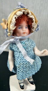 """Antique 3"""" Kestner Redheaded MIGNIONETTE All Bisque DOLL Dollhouse Miniature"""