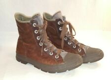 CONVERSE All Star Brown leather High Top Shoes Boots Mens Sz 10