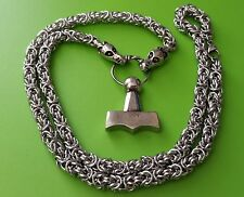 Viking Dragon Chain (70cms) with Mjölnir Thor's Hammer Pewter Pendant Necklace