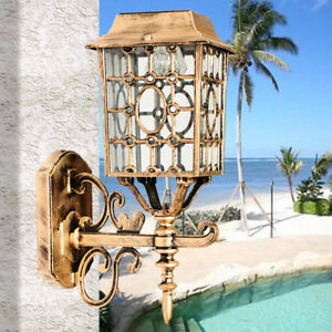 Solar Powered Outdoor Single Light Wall Lamp Garden Lamp European Vintage Style