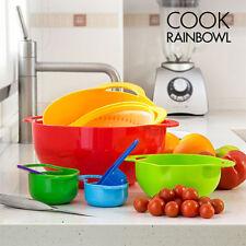Set 8 Utensili da Cucina Impilabili Salvaspazio Colorati Contenitori Scolapasta