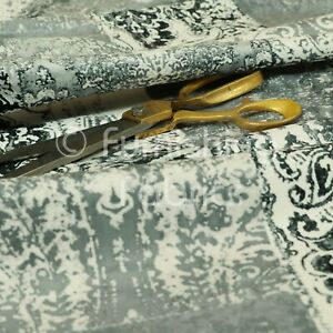 Soft Printed Velvet Patchwork Grey Damask Traditional Pattern Upholstery Fabric