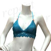 New women's lace back bralette bra Teal blue S M L XL
