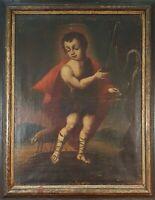 CHILD JESUS. THE GOOD SHEPHERD. OIL ON CANVAS. ANONYMOUS. XVIII-XIX CENTURY.
