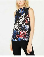 NINE WEST $59 Womens New Black Floral Print Sleeveless Blouse SIZE XS