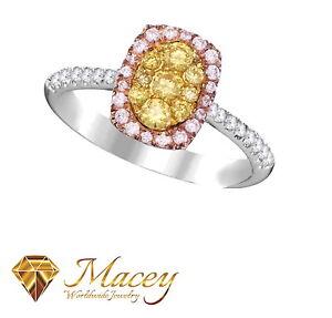 Canary Yellow & Pink Diamond 14K White Gold Beautiful Halo Ring .72 Ct