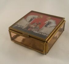 Enesco Foil Image Jewelry Box CHILDREN TOYS Glass Brass Mirror VINTAGE TRINKET