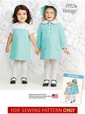 SALE! SEWING PATTERN! MAKE TODDLER~GIRL VINTAGE STYLE DRESS~COAT~BONNET~1/2 TO 4