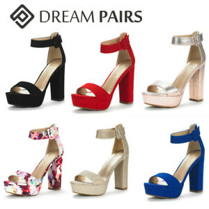 DREAM PAIRS Women's Ankle Strap Chunky High Heel Sandals Open Toe Sandals Shoes