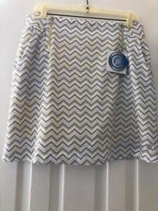NWT Ladies BETTE & COURT Gray & Yellow Zig Zag Golf Tennis Knit SKORT - M