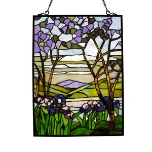 "25"" x 18"" H Tiffany-Style Purple Valley Stained Glass window Panel"