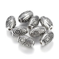 20pcs Carved Flower Acrylic Oval Beads Antique Silver Big Loose Spacer 19.5x12mm