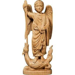 Skulptur des Engel Michael Romanisch Holz geschnitzte Figur