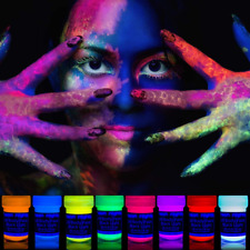 Face Body Make Up Paint Sylvester Party Black Light Neon 8 x UV Blacklight New