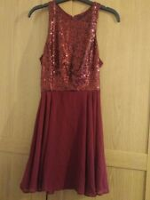 BN Atmosphere Berry Sequin Top Chiffon Dress - size 6/8