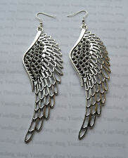 Handmade Extra Large Guardian Angel Wings Tibetan Silver Charm Earrings