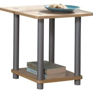 New Home Office 2 Shelf Small Display Wood Side Table