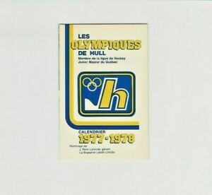 1977-78 Les OLYMPIQUES De Hull Hockey Pocket Schedule Labatt Yellow