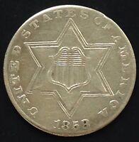 USA 1858 Three Cent Silver Trime 3 Cents Philadelphia Silber Selten 3538