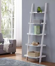 "White Finish 5 Tier Bookcase Shelf Ladder Leaning - 74"" Height, Costway HW51811"