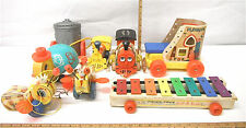 8 pc Vintage Fisher Price Usa Toys Train Pull Tune Toot Toot Huffy Puffy Queen