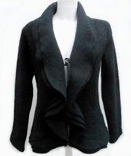 Veste Manteau 100% laine Taille 40 L 3 Noir 3 volants hiver TBE Jacket Coat