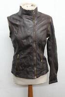 TED BAKER Ladies Brown Leather Detachable Sleeve Gilet Jacket Size 3 UK12 NEW