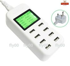 Smart LCD 8 USB Multi Ports Adapter Travel Wall AC Charger UK Plug 8A for phones