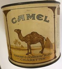 Vintage Camel Cigarettes 100s Round Tobacco Metal Tin Can With Lid Factory 4 NC