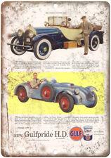 "Gulf Motor Oil 1916 Crane-Simplex Car Ad 10"" x 7"" Reproduction Metal Sign A10"