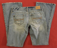 """Abercrombie & Fitch Madison Flare Distressed Light Blue Jeans womens 0S (28x31"""")"""
