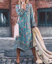 UK Womens Maxi Boho Floral V Neck Vintage Chiffon Ladies Casual Long Sun Dress