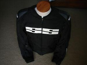 EUC Speed & Strength Mens Black Nylon Padded Motorcycle Race Jacket Sz Medium