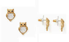 Kate Spade Gold Into the Woods Owl Pearl Earrings