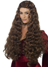 Womens Long Brown Medieval Princess Wig