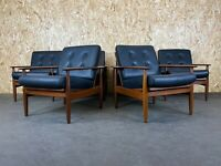 60er 70er Jahre Teak Sessel Easy Chair Loungechair Leder Danish Design 1von6