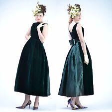 VTG 50s 60s GREEN VELVET Holiday FULL CIRCLE SKIRT Wedding Party Prom DRESS S