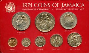 JAMACIA 1974 UNCIRCULATED/SPECIMEN HENRY MORGAN 10 $ + 7 OTHER  PIECES SET ON RE