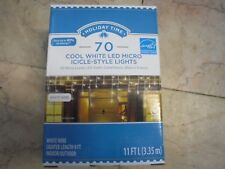 New ! 10PK Holiday Time 70 Cool White LED Micro Icicle-Style Light White Wire
