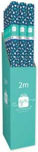BUY 2 GET 1 FREE 2M BLUE TRIANGLES ROLL WRAP/ WRAPPING PAPER PER ROLL/BIRTHDAY/