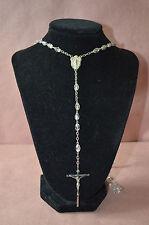 elegant vintage CHAPEL STERLING Crystal Rosary Beads Rosaries #1398