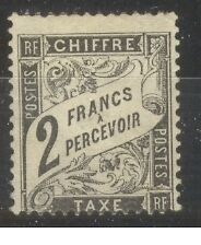 """FRANCE STAMP TIMBRE TAXE N° 23 """" TYPE DUVAL 2F NOIR """" NEUF xx TB SIGNE"""