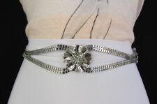 Women Metal Narrow Fashion Belt Hip High Waist Bling Flowers Silver Gold S M L